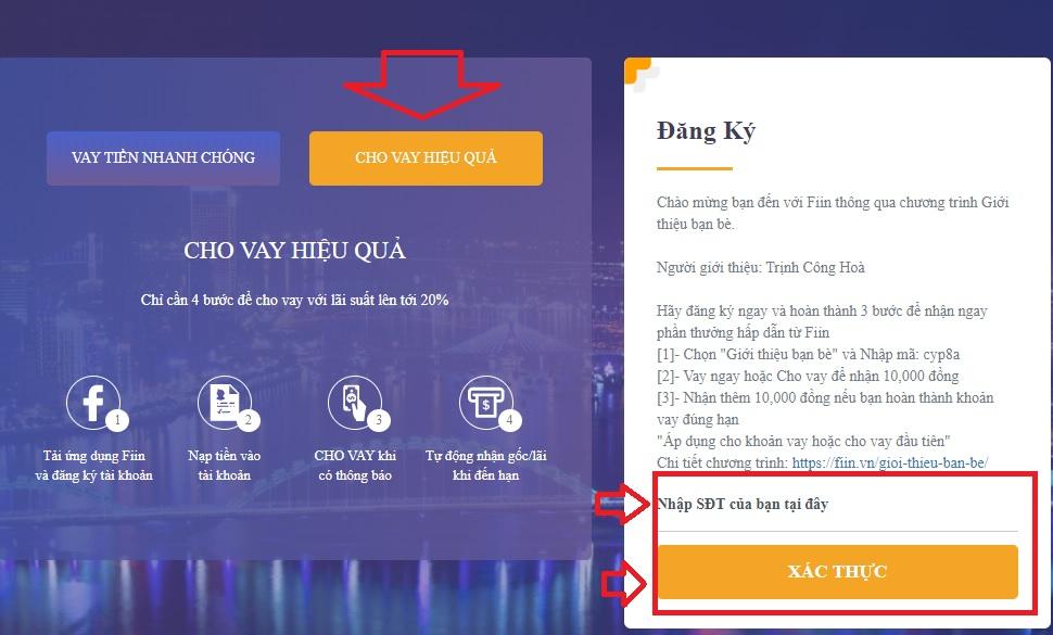 Hướng dẫn đầu tư cho vay tiền tín chấp tại Fiin – tiencuatoi.vn