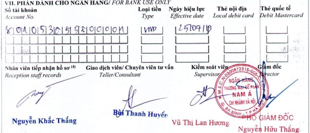 xác nhận đăng ký mở tài khoản của ngân hàng namabank -tiencuatoi.vn